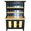 Black and Oak China Cabinet Hutch