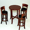 Tall Walnut Bar or Diner Table with Upholstered Bar Stools
