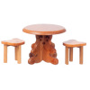 Wood Teddy Bear Table and Stools Set