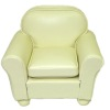 Cream White Leather Comfy Chair