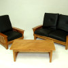 Walnut and Black Leather Modern Living Room Set