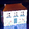 Handpainted Mini Wooden Dollhouse Toy Chest with Flip Top Roof