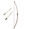 Miniature Wood Long Bow With Green Arrows