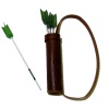 Archery Leather Quiver and Green Wood Arrows Set