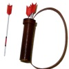 Archery Leather Quiver and Wood Arrows Set Red