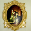Ornate Gilded Framed Victorian Lady and Dog Dancing Picture