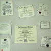 Set of Eight Diplomas and Certificates