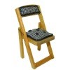 Taylor Jade Wood Folding Bridge Chair with Green Cushions