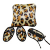 Taylor Jade Leopard Print Fuzzy Sleep Mask Slippers & Pillow Set