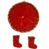 Taylor Jade Red Velvet Christmas Tree Skirt and Stocking Set