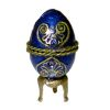 Opening Imperial Blue Jeweled Egg With Necklace