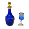Gerde Felke Cobalt Blue and Gold Decanter and Wine Glass