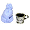 Silver Baby Cup With Blue Knit Hat Set