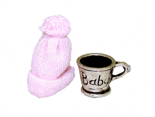 Silver Baby Cup With Pink Knit Hat
