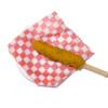 Corn Dog on Plate with Checkered Paper