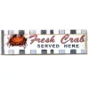Handcrafted Wood Fresh Crab Restaurant Sign