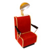 Handcrafted Beauty Salon Red Suede Dryer Chair With Gold Trim