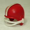 Red Football Helmet with Blue and White Stripe