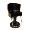 Handcrafted Beauty Salon Black Hair Styling Chair with Gold Trim