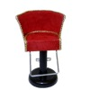 Handcrafted Salon Red Suede Hair Styling Chair with Gold Trim