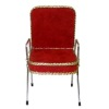 Handcrafted Beauty Salon Red Suede Shampoo Chair With Gold Trim