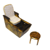 Handcrafted Salon Pedicure Chair with White Seat