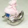 Silver Duck Bank with Pink Hat & Coins