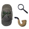 Sherlock Holmes Deerstalker Hat Pipe And Magnifying Glass