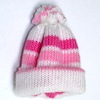 Mini Pink and White Knit Ski Cap