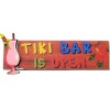 Handcrafted Wood Tiki Bar Is Open Sign with Tropical Drink