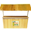 Artisan Bamboo Tiki Bar with Tiki Mask Sign and Thatch Roof