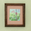 Wood Framed Japanese Stamp Pink Flower Picture