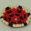 Theresa Flores Geary Hand Beaded Black Red and Cream Flat Basket
