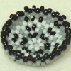 Theresa Flores Geary Hand Beaded Black White and Gray Basket