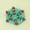 Theresa Flores Geary Hand Beaded Turquoise Snowflake Flat Basket