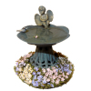 Wilhelmina Aged Filled Garden Cherub Angel Birdbath With Flowers