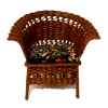 Wilhelmina Brown Wicker Chair with Velvet Upholstered Seat