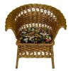 Wilhelmina Wicker Chair with Velvet Upholstered Seat