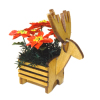 Wilhelmina Christmas Poinsettia in Wood Reindeer Planter
