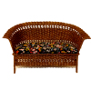 Wilhelmina Brown Wicker Loveseat with Velvet Upholstered Seat