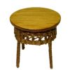 Wilhelmina Round Wood End Table With Wicker Accent