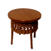 Wilhelmina Round Wood End Table With Brown Wicker Accent