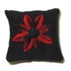 Handcrafted Red And Black Flower Pillow