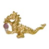 Golden Dragon Holding a Natural Amethyst