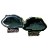 Mounted Natural Mineral Specimen Matched Pair of Green Geodes