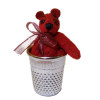 World of Miniature Bears Colonial Red Suede Thimble Bear