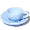 Hand Painted Warwick Blue Pewter Coffee Cup and Saucer