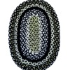 Gloria Richardson Lg Handcraft Black and Green Braided Wool Rug
