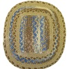 Gloria Richardson Handcrafted Blue and Beige Braided Wool Rug